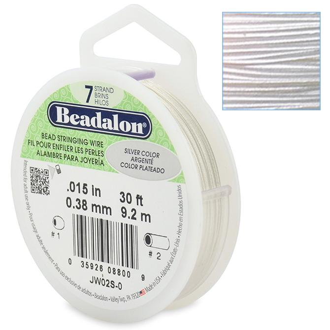 Beadalon Stringing Wire 7 Strands .015 (.38mm) Metallic Silver Colour