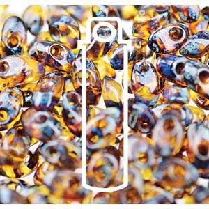 Miyuki Magatama Bead 4x7mm Long Picasso Dark Amber Transparent