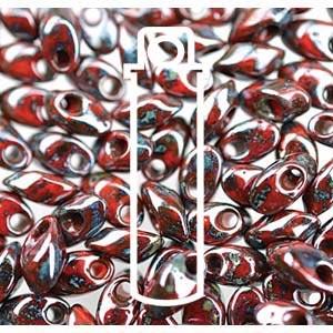 Miyuki Magatama Bead 4x7mm Long Picasso Opaque Red Lustre