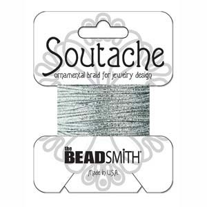 Soutache Braid Cord, Beadsmith 3mm - Textured Metallic Silver