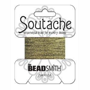 Soutache Braid Cord, Beadsmith 3mm - Textured Metallic Gold & Black