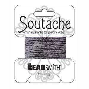 Soutache Braid Cord, Beadsmith 3mm - Textured Metallic Gunmetal