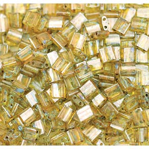 Miyuki Tila Bead 5mm Picasso Saffron Transparent