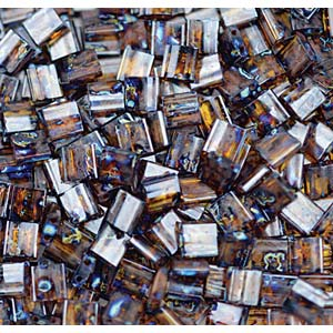 Miyuki Tila Bead 5mm Picasso Garnet Transparent