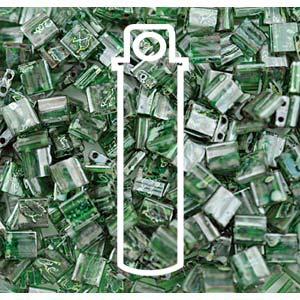 Miyuki Tila Bead 5mm Picasso Green Transparent