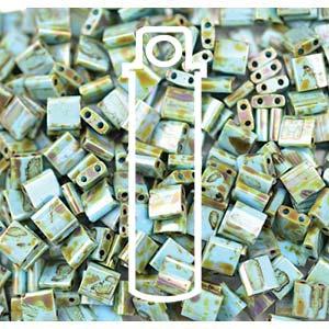 Miyuki Tila Bead 5mm Picasso Seafoam Green Matt