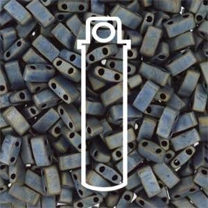 Miyuki Half Tila Bead 1/2 Cut 5mm Matte Metallic Silver Grey