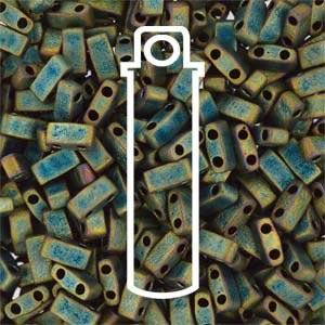Miyuki Half Tila Bead 1/2 Cut 5mm Matte Metallic Green Iris