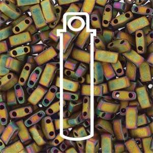 Miyuki Half Tila Bead 1/2 Cut 5mm Matte Metallic Khaki Iris