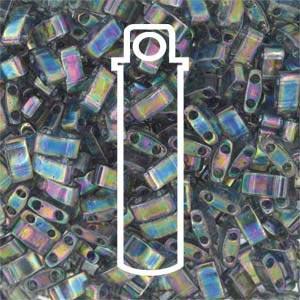 Miyuki Half Tila Bead 1/2 Cut 5mm Lustre Dk Tr Grey Rainbow