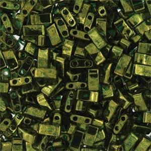 Miyuki Half Tila Bead 1/2 Cut 5mm Lustre Olive Green