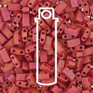 Miyuki Half Tila Bead 1/2 Cut 5mm Opaque Matte Red AB