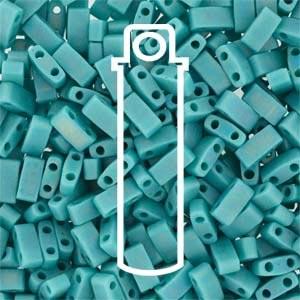 Miyuki Half Tila Bead 1/2 Cut 5mm Opaque Matte Turquoise Green AB