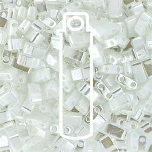 Miyuki Half Tila Bead 1/2 Cut 5mm Opaque White Pearl