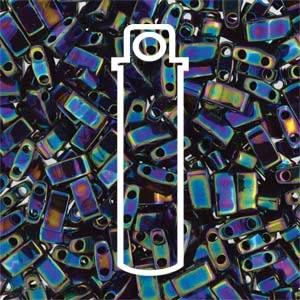 Miyuki Half Tila Bead 1/2 Cut 5mm Metallic Medium Blue Iris