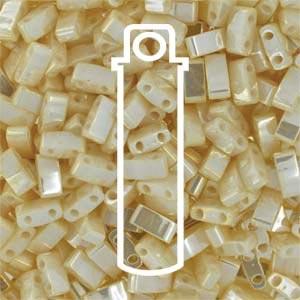 Miyuki Half Tila Bead 1/2 Cut 5mm Ceylon Antique Ivory Pearl